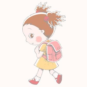 Linda garota com sua mochila escolar desenhada à mão