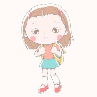 Linda garota com sua mochila escolar e mostra uma expressão triste