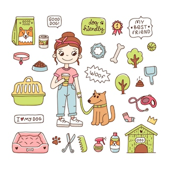 Linda garota com um cachorro para passear ícones de objetos acessórios para cachorros