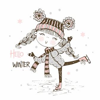 Linda garota com um chapéu de malha patinando
