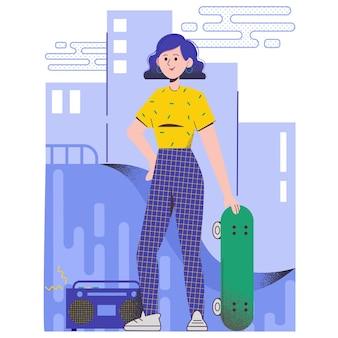 Linda garota com um skate. ilustração texturizada vetorial plana
