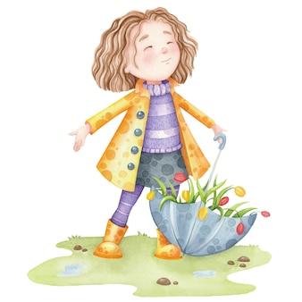 Linda garota com uma capa de chuva amarela com flores tulipa.