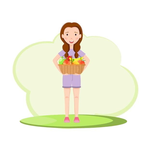 Linda garota com uma cesta de frutas