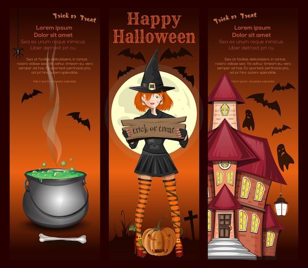 Linda garota com uma fantasia de bruxa, lua cheia, caldeirão mágico, morcegos e casa mal-assombrada. desenho de halloween. doçura ou travessura. conjunto de banners verticais.