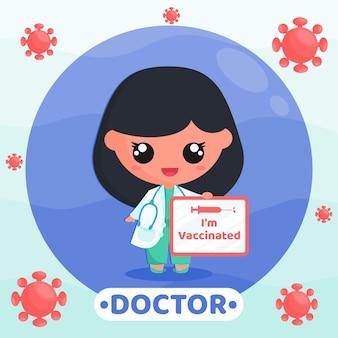 Linda garota com uniforme de médico, fazendo campanha de vacinação, segurando um quadro branco