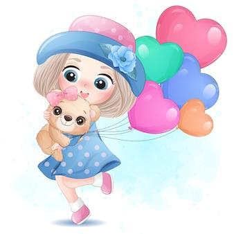 Linda garota com ursinho ilustração