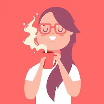 Linda garota com vermelha xícara de café ou chá. personagem de desenho animado mulher isolada no fundo.