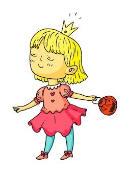 Linda garota com vestido de festa de halloween princesa em branco