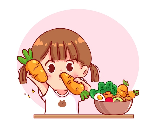 Linda garota comendo salada de vegetais frutas ilustração da arte dos desenhos animados