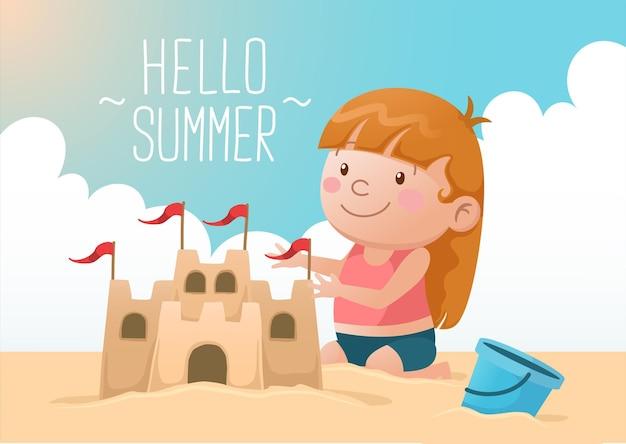 Linda garota construindo castelo de areia olá verão