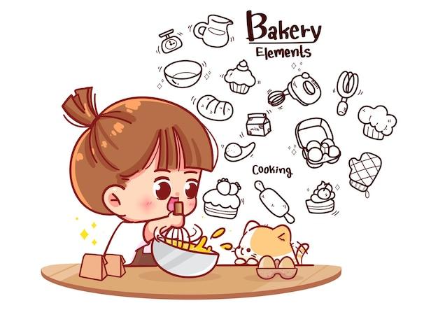 Linda garota cozinhando na cozinha e na padaria. elementos do doodle dos desenhos animados