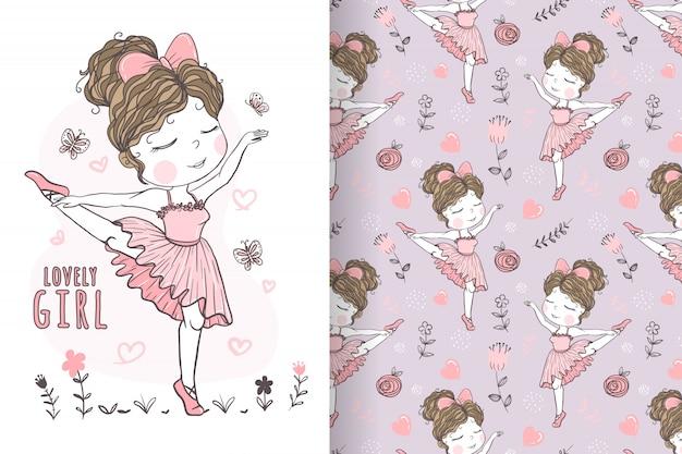 Linda garota dançando balé mão ilustrações desenhadas e padrão