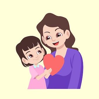 Linda garota dando um cartão com formato de amor para a mãe no dia das mães