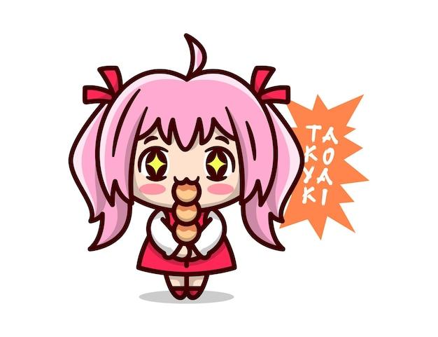 Linda garota de anime com cabelo rosa parece tão feliz quando come um pedaço de mascote takoyaki de alta qualidade