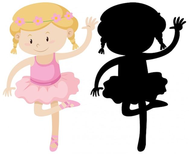 Linda garota de balé com sua silhueta