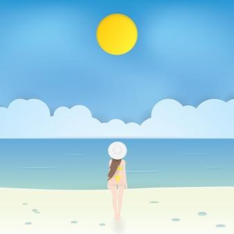 Linda garota de biquíni caminhando na praia, vetor de artesanato