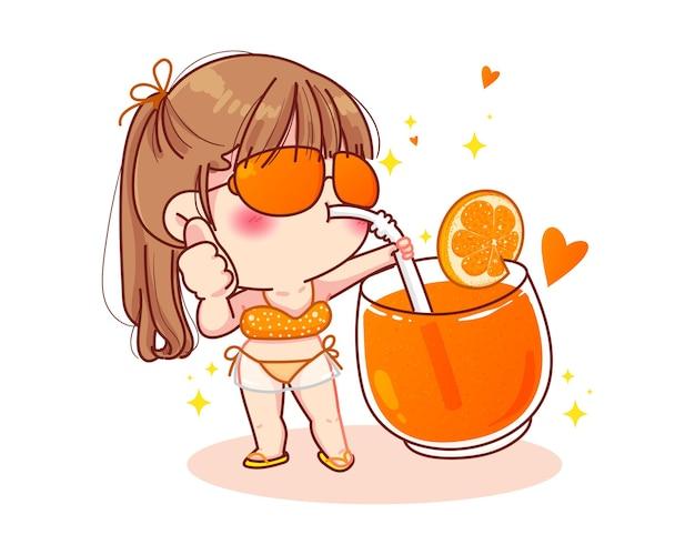 Linda garota de biquíni em pé e chupando ilustração dos desenhos animados de suco de laranja