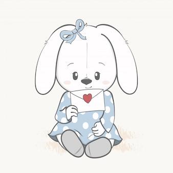 Linda garota de coelho com mão de desenhos animados de carta de amor desenhada