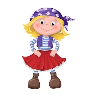 Linda garota de crianças piratas