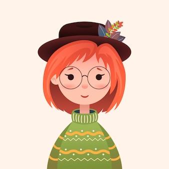 Linda garota de outono em uma blusa e chapéu