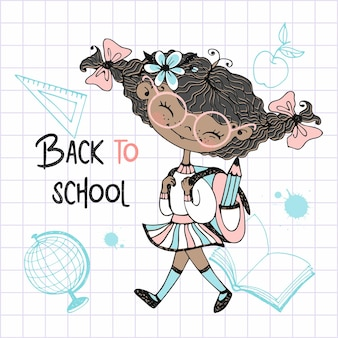 Linda garota de pele escura com rabo de cavalo com uma mochila escolar vai para a escola. de volta à escola. vetor.