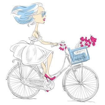 Linda garota de vetor anda de bicicleta