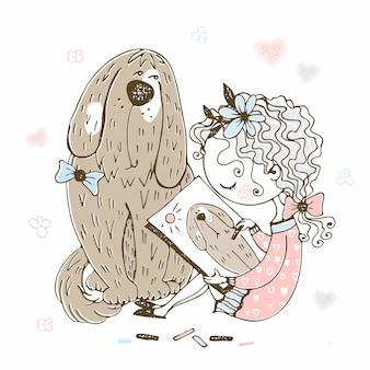 Linda garota desenha seu cachorro grande de estimação.