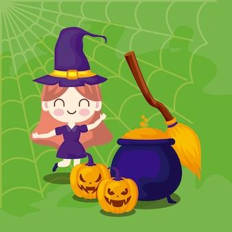 Linda garota disfarçada de bruxa e ícones de halloween