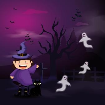 Linda garota disfarçada de bruxa na cena ilustração de halloween