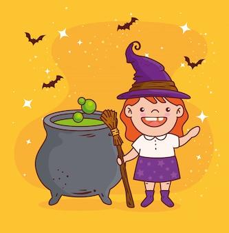 Linda garota disfarçada de bruxa para a celebração do feliz dia das bruxas com desenho de ilustração vetorial de caldeirão