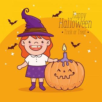 Linda garota disfarçada de bruxa para um feliz dia das bruxas com desenho de ilustração vetorial de abóbora e vela
