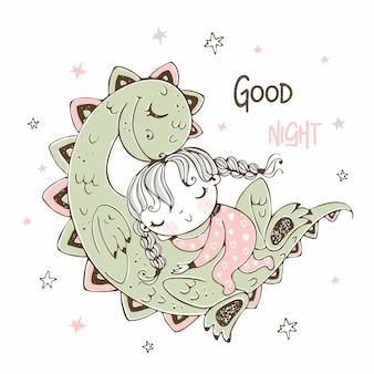 Linda garota dormindo com seu dinossauro de estimação