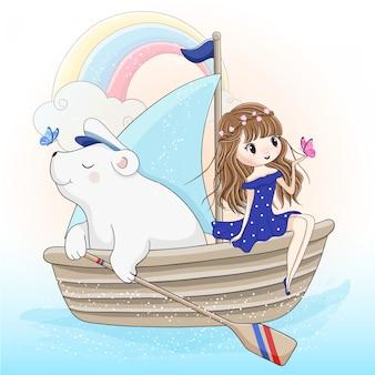 Linda garota e capitão urso polar barco à vela no oceano
