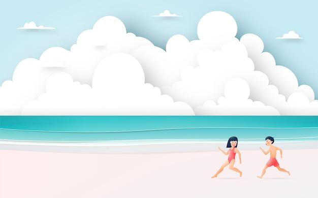 Linda garota e garoto com bela ilustração de praia