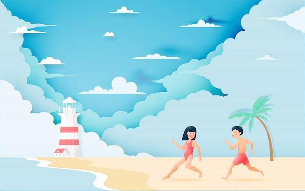 Linda garota e garoto com praia linda
