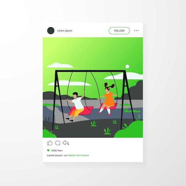 Linda garota e menino balançando e aproveitando a ilustração vetorial plana de férias isoladas. desenhos animados de amigos felizes brincando no parquinho