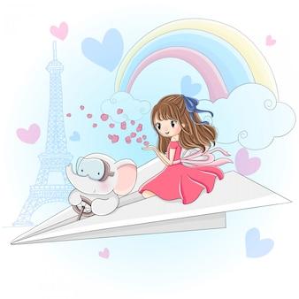 Linda garota e pequeno elefante sentado no avião de papel voando no céu