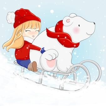 Linda garota e urso polar estão esquiando