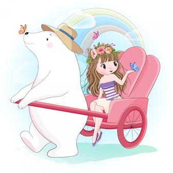 Linda garota e urso polar jogando borboletas ao ar livre