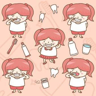 Linda garota em ações de cuidados de saúde dentário personagens de desenhos animados.
