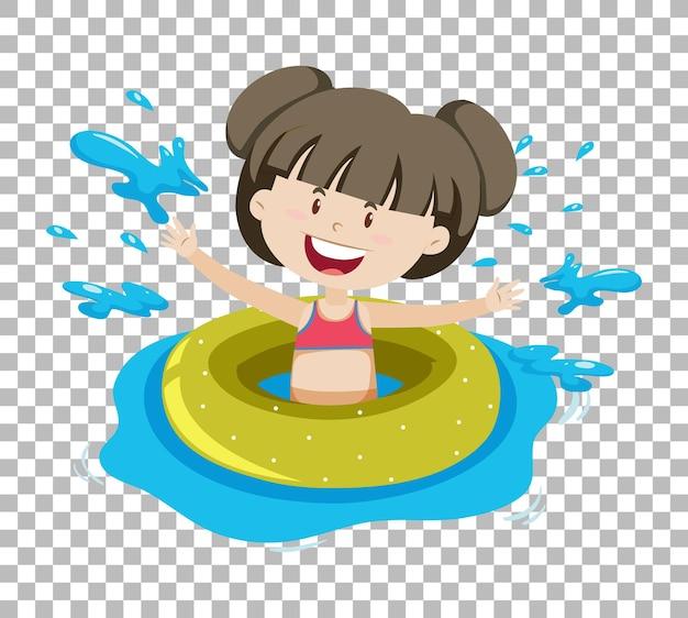 Linda garota em anel inflável