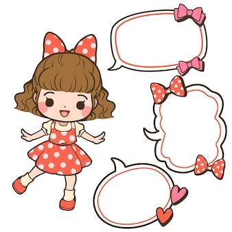 Linda garota em um vestido de bolinhas com balões de fala e laços