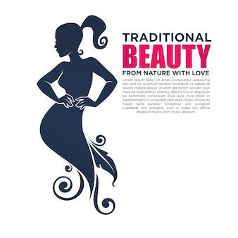 Linda garota em um vestido floral, para seu logotipo, etiqueta, emblema