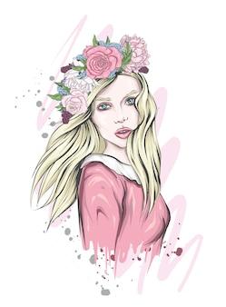 Linda garota em uma coroa de flores