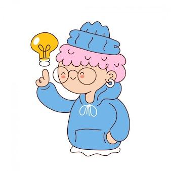 Linda garota engraçada com lâmpada de ideia. desenho animado personagem ilustração ícone do design. isolado no fundo branco