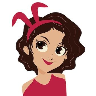 Linda garota enrolando o cabelo com uma pulseira de coelho