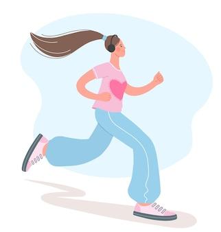 Linda garota está envolvida em esportes. ilustração da menina correndo. conceito de estilo de vida saudável.