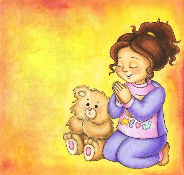 Linda garota está orando a deus com um ursinho de pelúcia perto