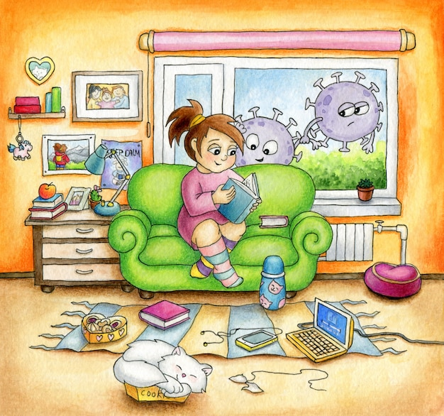 Linda garota está sentada no sofá em casa e lendo o livro com grande prazer. coronavírus dos desenhos animados estão fora da janela, olhando para dentro. conceito de quarentena.