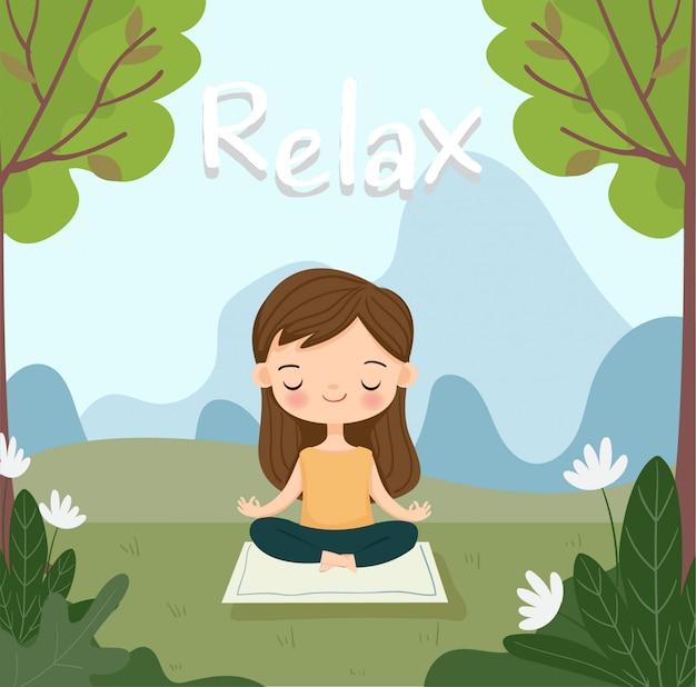 Linda garota faz yoga meditação para relaxar.